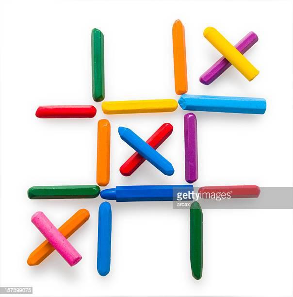 Crayon pastel Croix de Tic-Tac-Toe