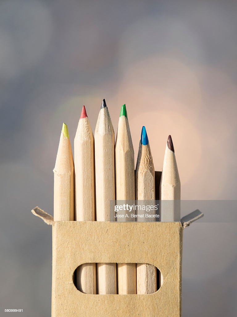 Crayons in cardboard case