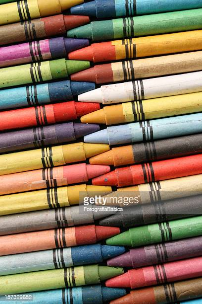 Crayons in rows