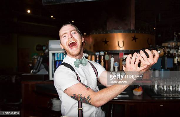 crazy bartender making cocktail