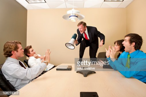 Crazy Boss Yelling At Employees Stock Photo Getty Images