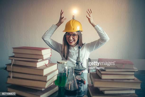 Crazy female scientist having an idea