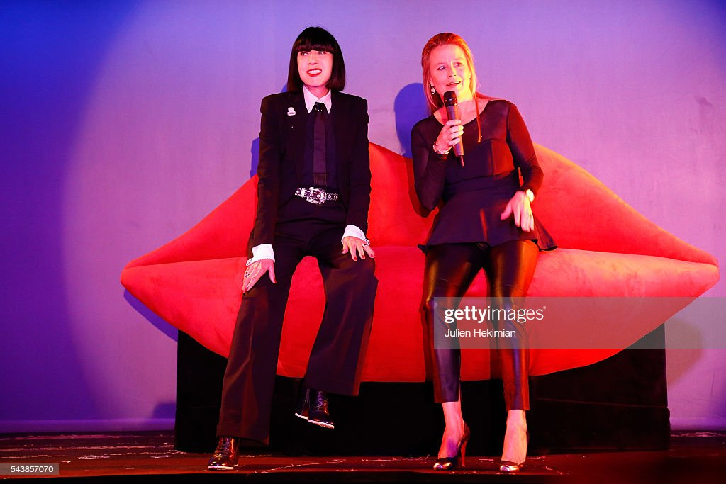 Crazy Horse General Director Andree Deissenberg and French Designer Chantal Thomass, Crazy Horse new guest, are pictured during the press conference at Le Crazy Horse on June 30, 2016 in Paris, France.