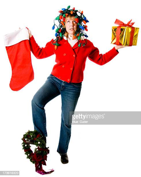 Crazy, Overwhelmed Christmas Woman Juggling