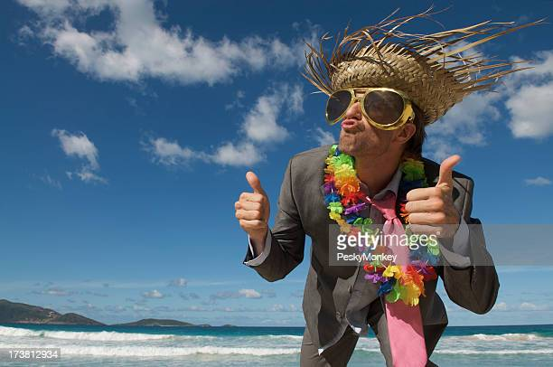 Crazy Tourist Businessman Giving Thumbs Up on Tropical Beach