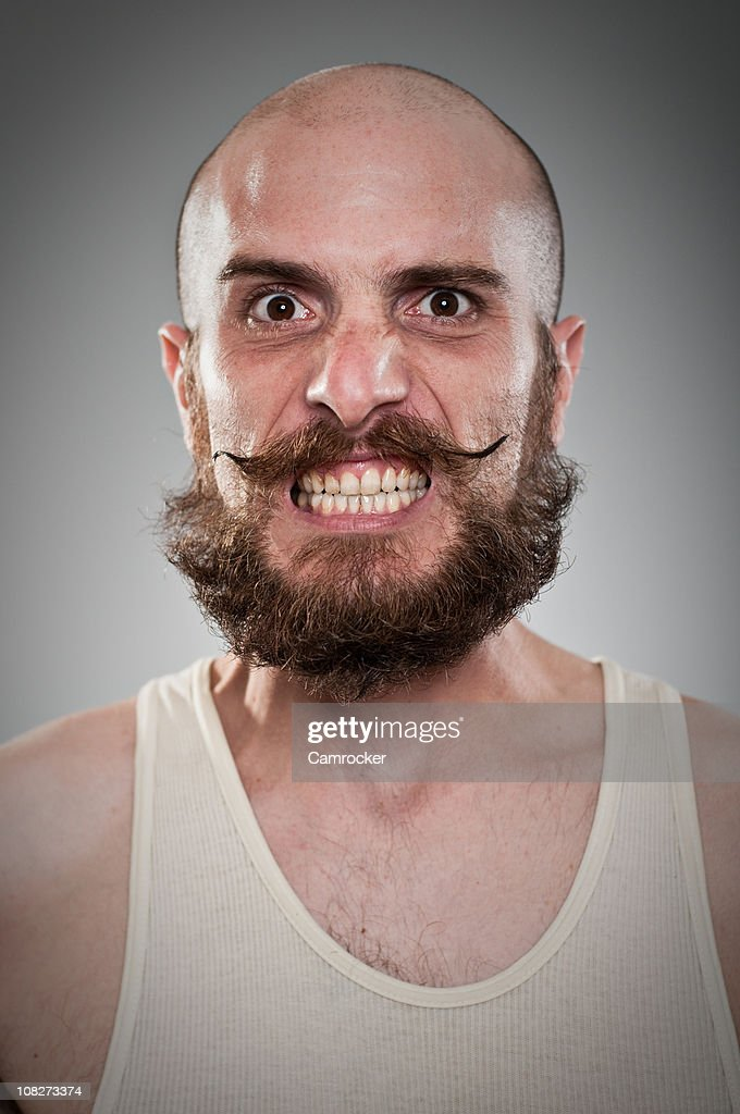 Crazy Twisted Mustache Guy : Stock Photo