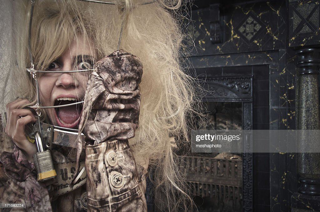 Crazy Woman In A Straightjacket And Cage Stock Photo | Getty Images