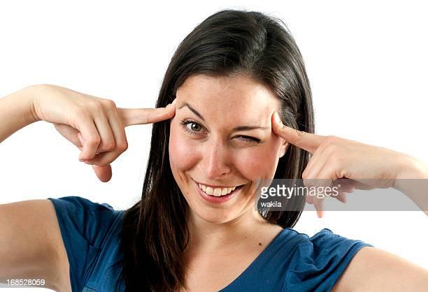 クレイジーな女性、指で頭