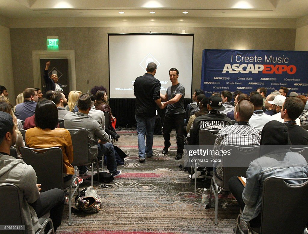 Cre8 Music Academy representative Doug Fenske (back to camera) leads a sponsor session during the 2016 ASCAP 'I Create Music' EXPO on April 30, 2016 in Los Angeles, California.