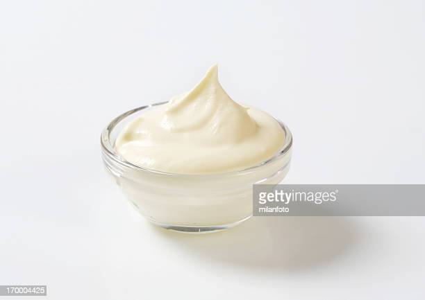Cream cheese in a glass bowl