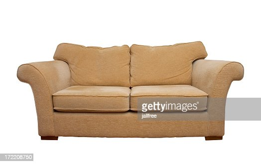 Cream comfortable sofa isolated on white background