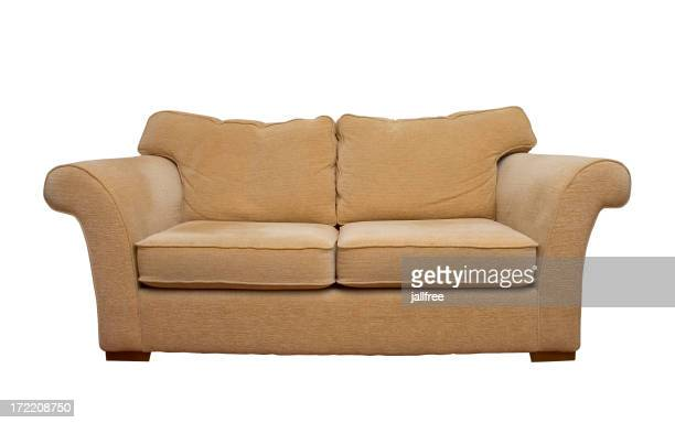 Cream comfortable sofa isolated on white background