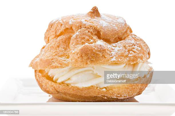 Cream Puff On A White Plate
