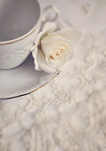 Cream Rose, lace and china cup