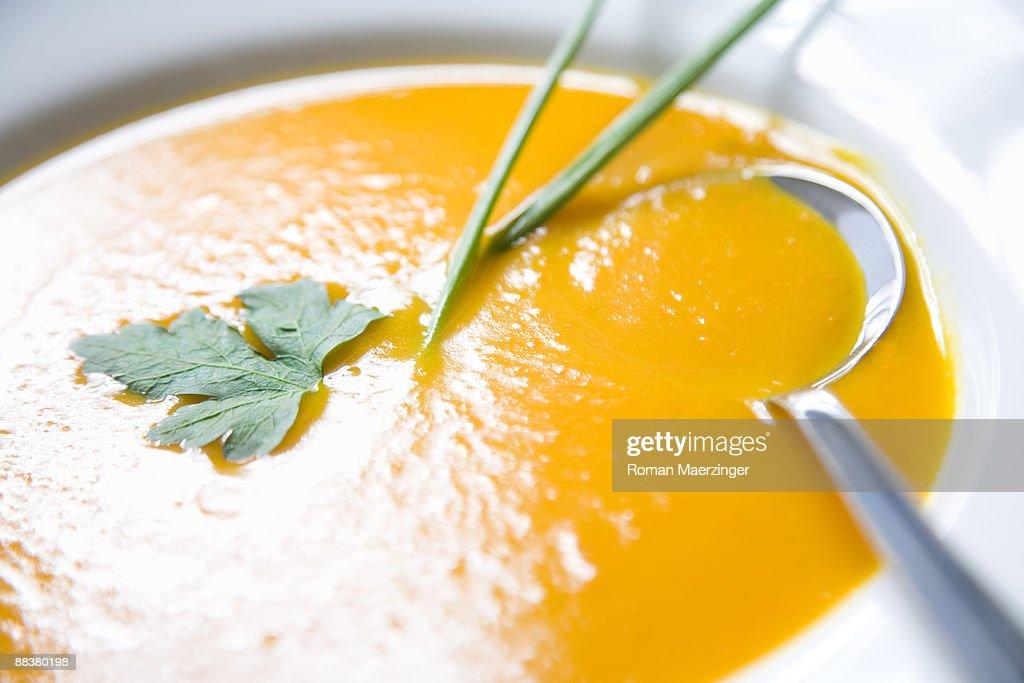 Creamed pumpkin soup, close-up