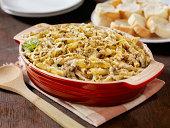'Creamy Baked Pesto Chicken, Mushroom and Penne Casserole'