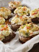 Creamy, Crab and Shrimp Stuffed Mini Portobello Mushroom Caps