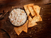 Creamy Crab Dip with Baked Pita Chips  -Photographed on Hasselblad H3D2-39mb Camera