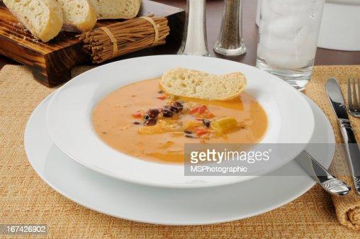 Crema gouda sopa de pollo : Foto de stock