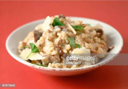 Creamy Mushroom Rissotto in Bowl & Parmeson Flakes