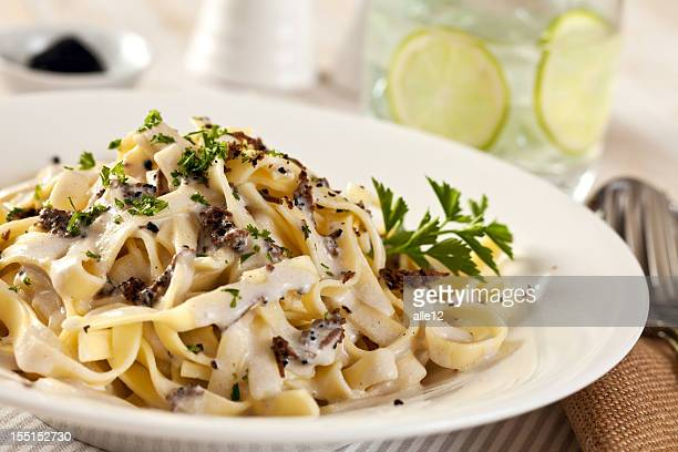 Creamy pasta with shaved truffles