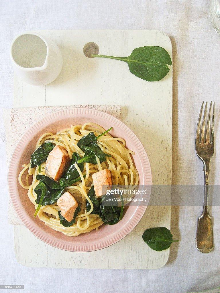 Creamy Salmon Spaghetti : Stock Photo