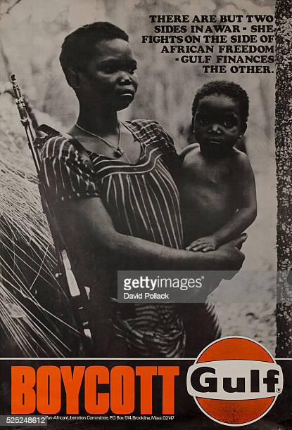 Created by the PanAfrican Liberation Committee ca 1972 An Angolese woman with a rifle holds a baby in anti Gulf Oil protest poster