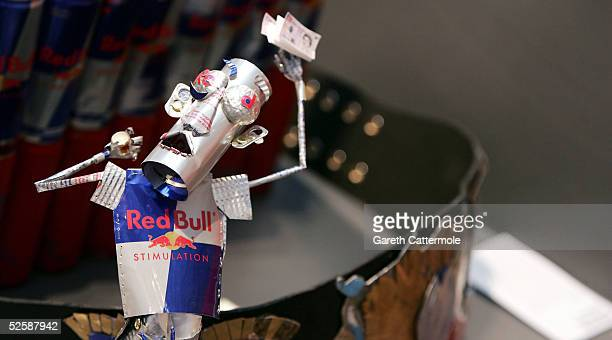 A creation made from Red Bull cans is seen at the Red Bull Art Of Can private view and awards at the The Old Truman Brewery on April 4 2005 in London...