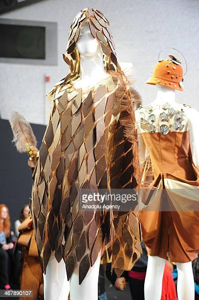 A creation made of chocolate is displayed at the Salon du Chocolat in Brussels Belgium on February 8 2014 The chocolate fair 'Salon du Chocolat' runs...