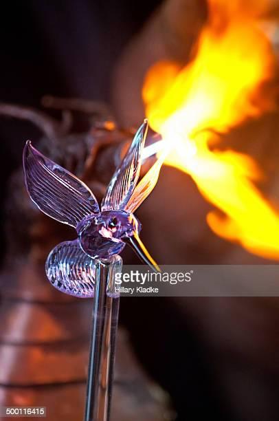 Creation of a glass hummingbird