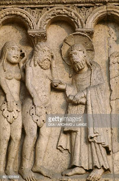 Creation of Adam and Eve and Original Sin basrelief by Wiligelmo Modena cathedral EmiliaRomagna Italy 11th12th century