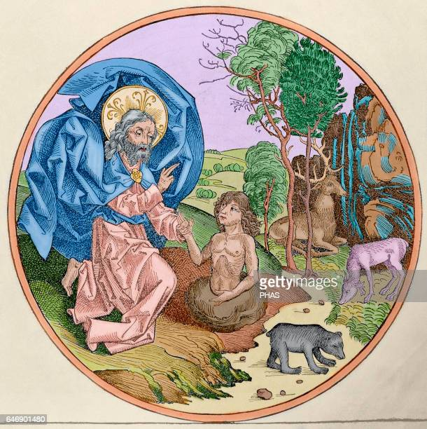 Creation of Man Engraving 16th century Colored