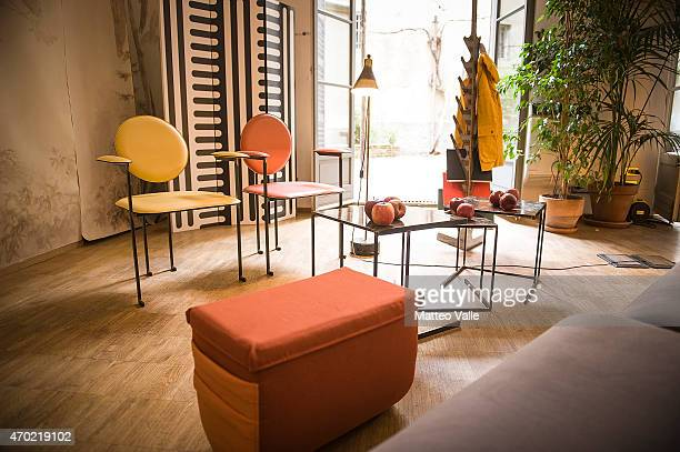 Creations are displayed at 5Vie District during 2015 Milan Design Week at Fuorisalone on April 18 2015 in Milan Italy