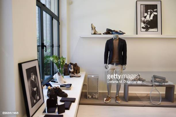 Creations are displayed at the Brunello Cucinelli Presentation during Milan Men's Fashion Week Spring/Summer 2018 on June 17 2017 in Milan Italy