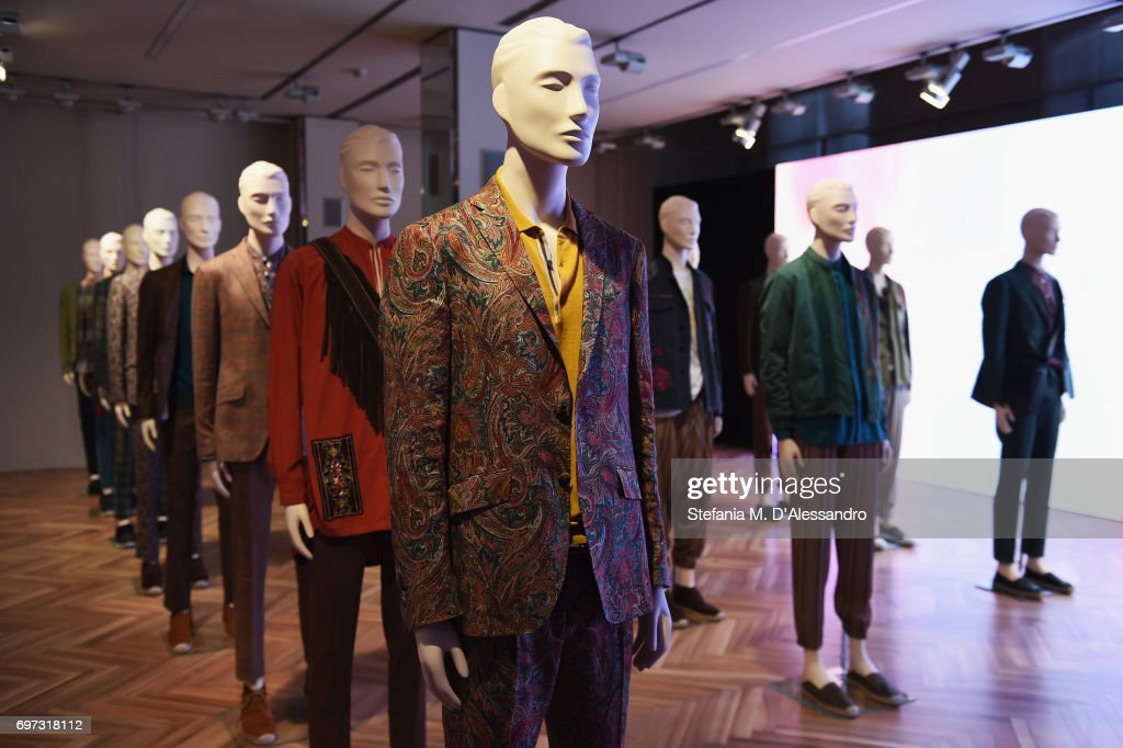 Creations are displayed at the Etro Presentation during Milan Men's Fashion Week Spring/Summer 2018 on June 18, 2017 in Milan, Italy.