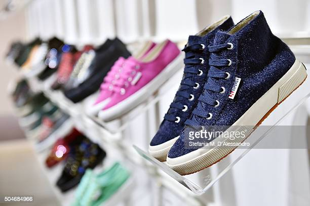 Creations are displayed during 'Superga' Presentation as part of 89 Pitti Uomo at Fortezza Da Basso on January 12 2016 in Florence Italy