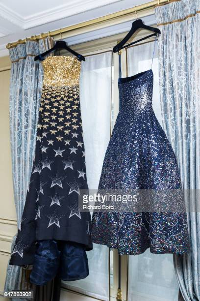 Creations are displayed during the OngOaj Pairam presentation at Hotel Meurice as part of the Paris Fashion Week Womenswear Fall/Winter 2017/2018 on...