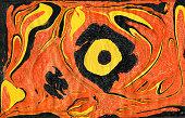 Creative abstract art background in orange, yellow and black colors. Handmade painted background. Acrylic painting on paper. Liquid paint.