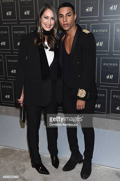 Creative Advisor AnnSofie Johansson and Creative Director for Balmain Olivier Rousteing attend the BALMAIN X HM Collection Launch at 23 Wall Street...