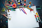 Blank paper sheet and objects for painting