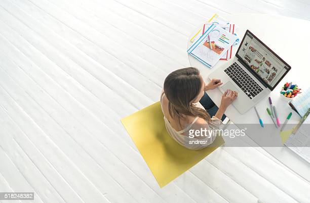 Creative business woman working online