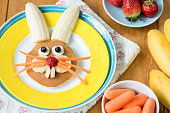Creative colorful breakfast for kids. Easter Bunny Shaped Pancake With Fruits. Closeup view
