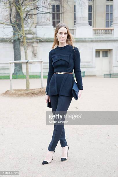 Creative consultant Vanessa Traina wears all Dior with Gianvitto Rossi shoes on day 3 of Paris Haute Couture Fashion Week Spring/Summer 2016 on...
