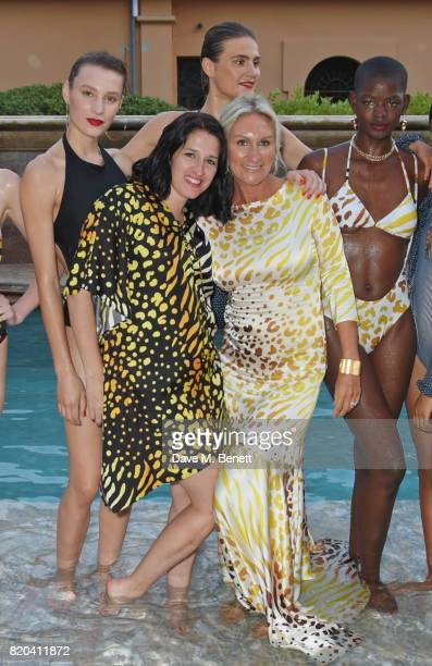 Creative director Amy Molyneaux and cofounder Helen Johnson pose with models at the Lelloue launch party at Villa St George on July 21 2017 in Cannes...