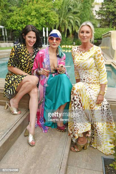 Creative director Amy Molyneaux Catherine Baba and cofounder Helen Johnson attend the Lelloue launch party at Villa St George on July 21 2017 in...