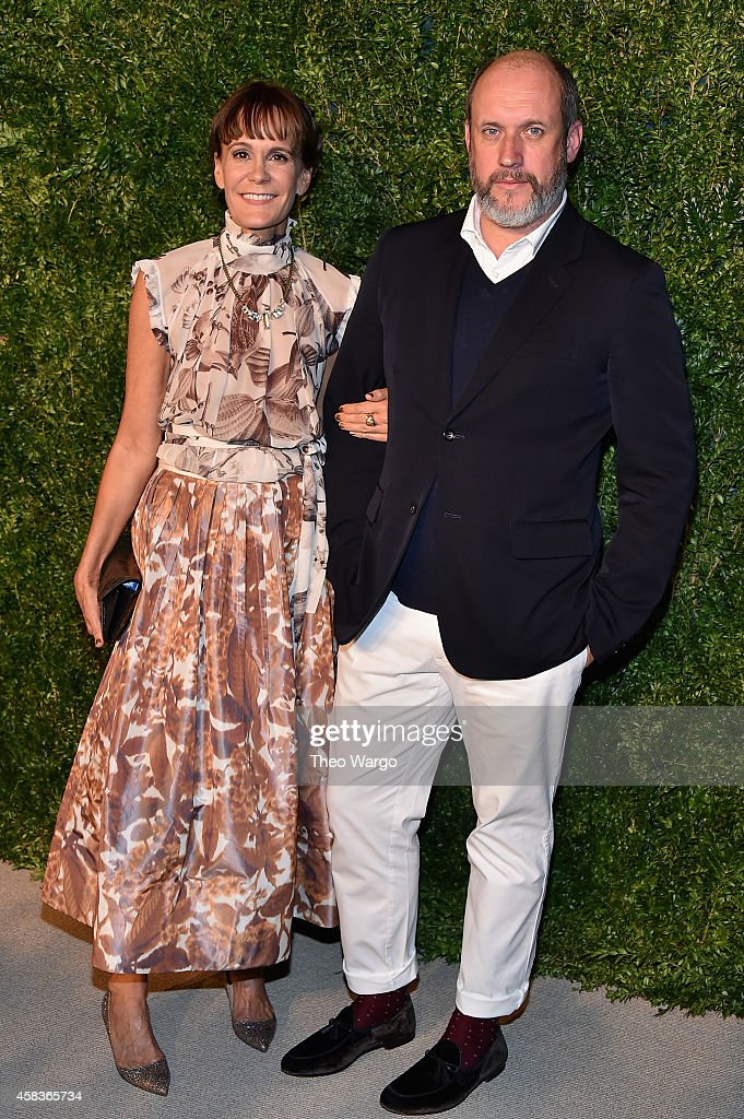Creative director at Oscar de la Renta Peter Copping (R) and a guest attend the 11th annual CFDA/Vogue Fashion Fund Awards at Spring Studios on November 3, 2014 in New York City.