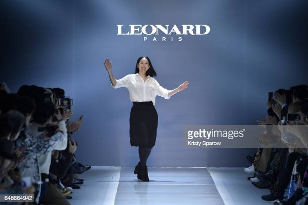 Creative Director Christine Phung acknowledges the audience during the Leonard Paris show as part of Paris Fashion Week Womenswear Fall/Winter...