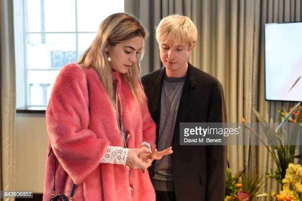 Creative director Dominic Jones speaks with Britishborn DJ model actress and fashion commentator Chelsea Leyland during the Astley Clarke AW17...