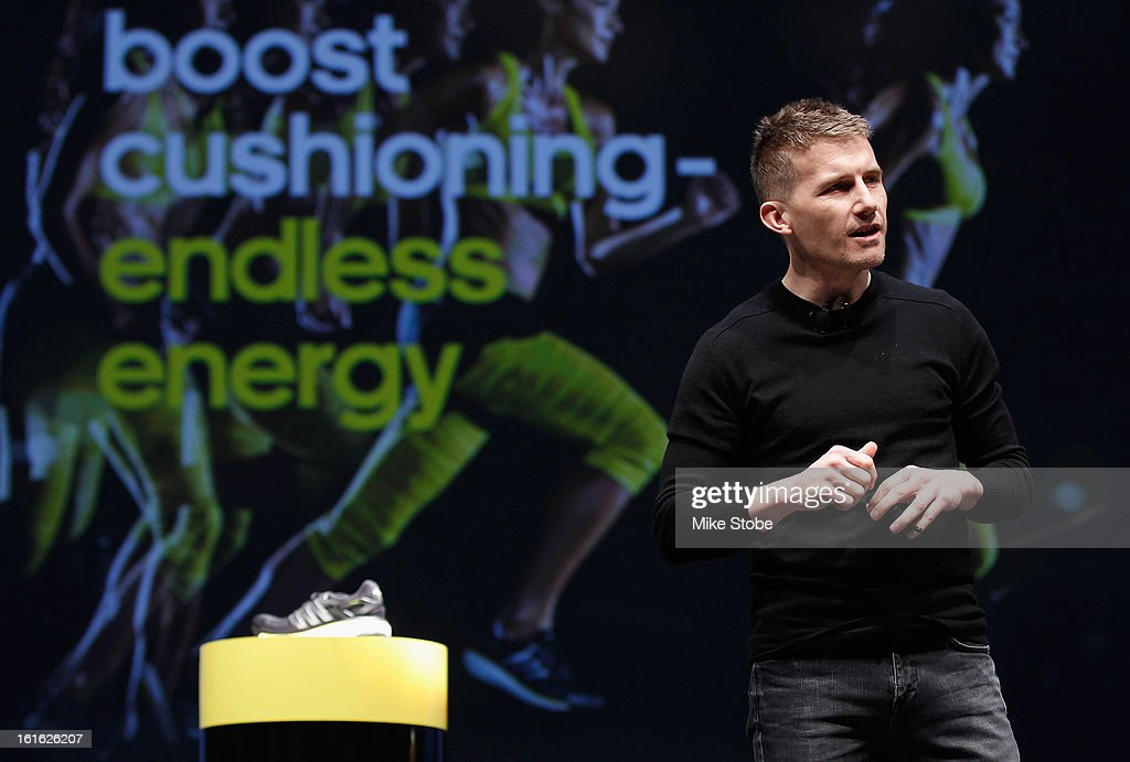 Creative Director for Sport Performance James Carnes speaks to the media during the unveiling adidas Energy Boost sneaker at the Javits Convention Center North on February 13, 2013 in New York City.