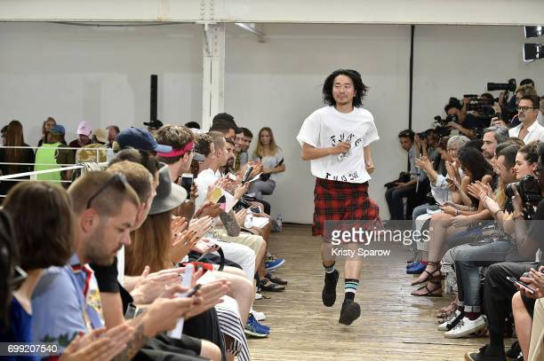 Creative Director Hiromichi Ochiai acknowledges the audience during the Facetasm Menswear Spring/Summer 2018 show as part of Paris Fashion Week on...